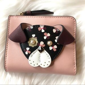 NWT Kate Spade Floral Pup Dog Bifold Wallet